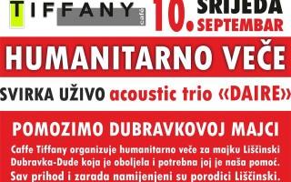 Humanitarno veče, Caffe Tiffany Prijedor, 10.09.2014.